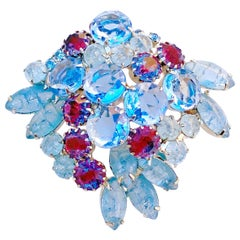 Periwinkle Blue Crystal Rhinestone Layered Juliana Brooch By DeLizza & Elster