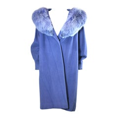 Periwinkle Wool/Cashmere and Fox Wrap Coat