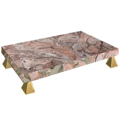 Pink grey Coffee Table Marbled Scagliola art Handmade  Casted Brass Feet