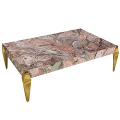 Modern Coffee Table Pink Grey Artistic Scagliola Decoration Polished Brass Feet