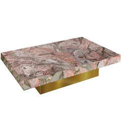 Modern Coffee Table  Pink Grey Marbled Scagliola Decoration Gold Leaf Base