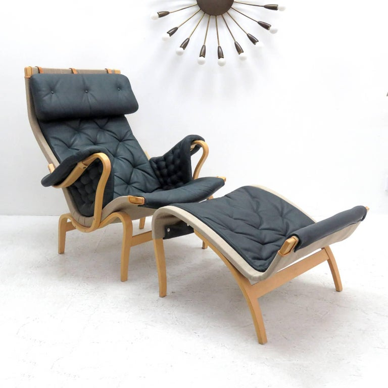 Scandinavian Modern Pernilla Lounge Chair with Ottoman by Bruno Mathsson for DUX For Sale