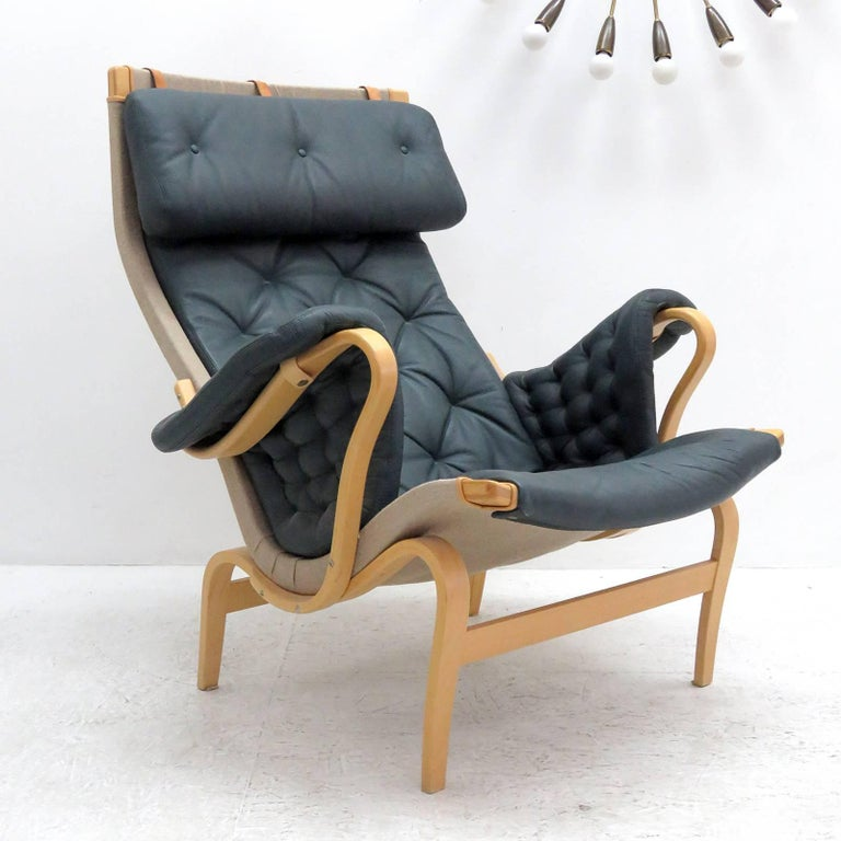 Swedish Pernilla Lounge Chair with Ottoman by Bruno Mathsson for DUX