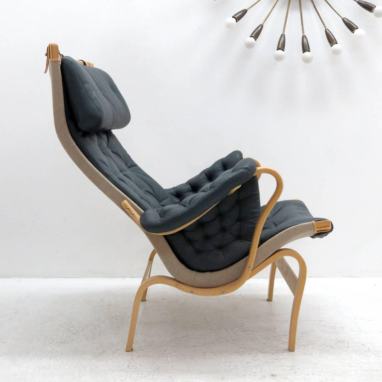 Molded Pernilla Lounge Chair with Ottoman by Bruno Mathsson for DUX For Sale