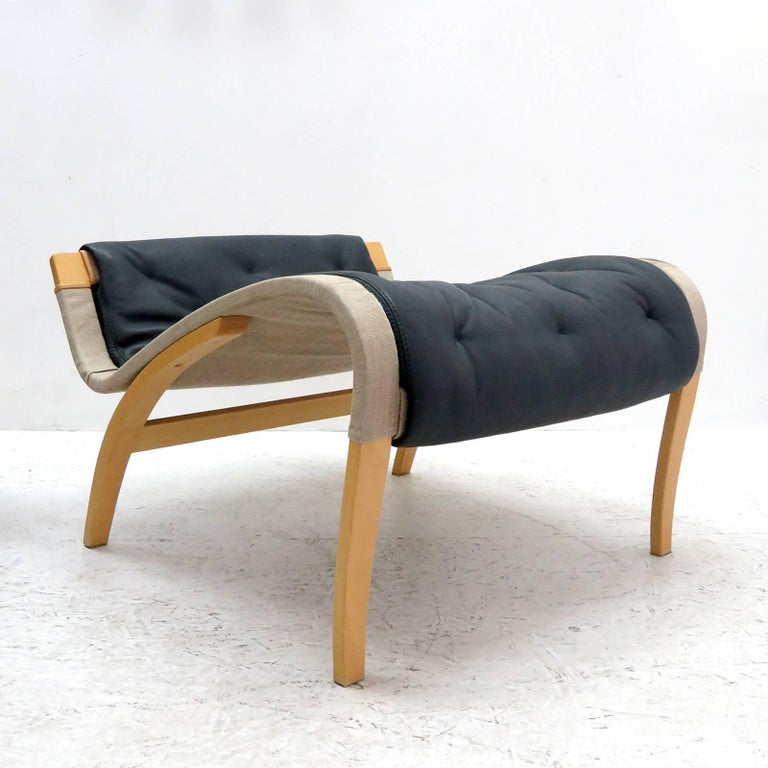 Leather Pernilla Lounge Chair with Ottoman by Bruno Mathsson for DUX For Sale
