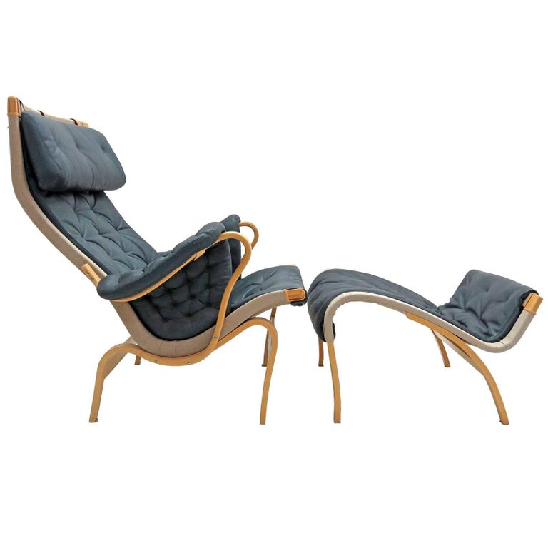 Pernilla Lounge Chair with Ottoman by Bruno Mathsson for DUX For Sale