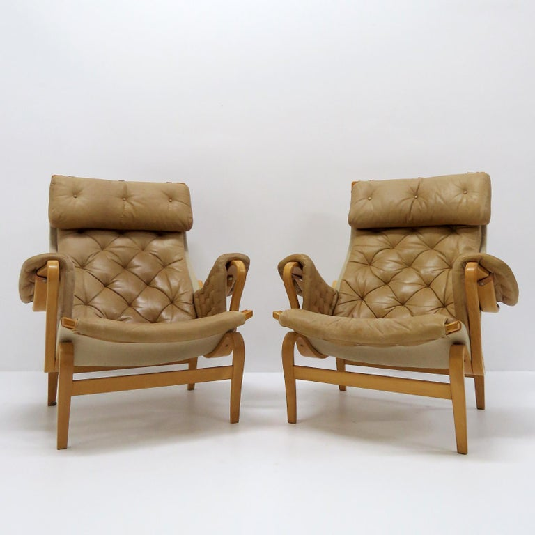 Canvas Pernilla Lounge Chairs by Bruno Mathsson for DUX For Sale