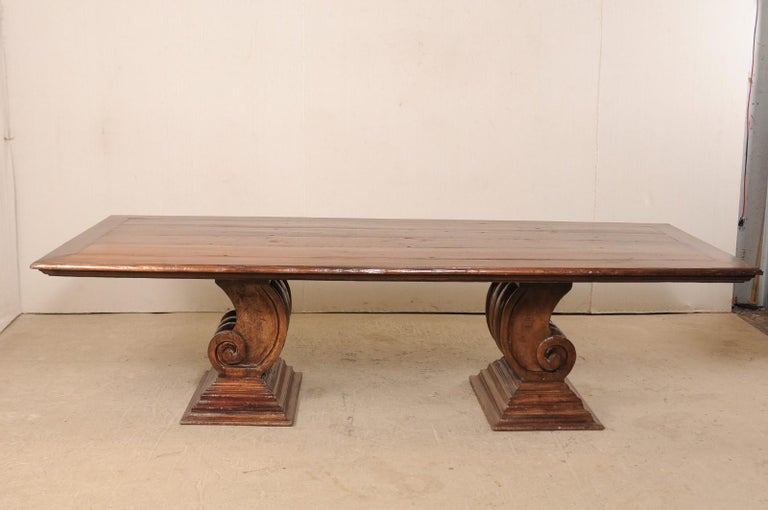 Brazilian A Peroba Wood Dining or Conference Table w/ Fabulously Thick Carved Scroll Bases For Sale