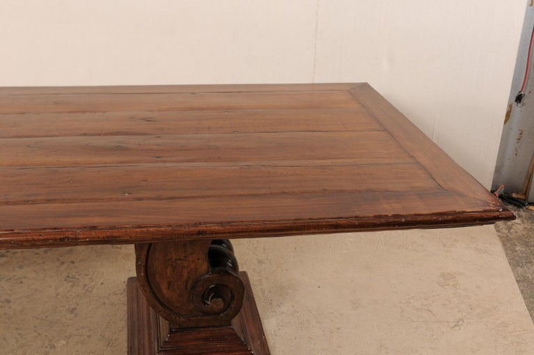 20th Century A Peroba Wood Dining or Conference Table w/ Fabulously Thick Carved Scroll Bases For Sale