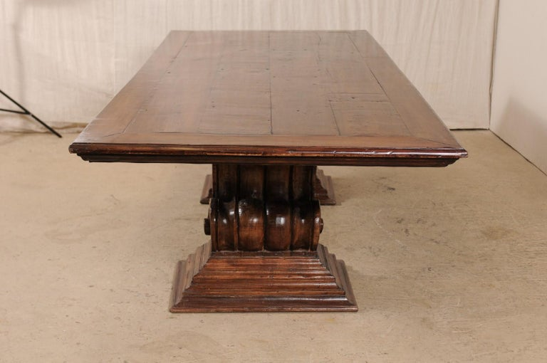 A Peroba Wood Dining or Conference Table w/ Fabulously Thick Carved Scroll Bases For Sale 1