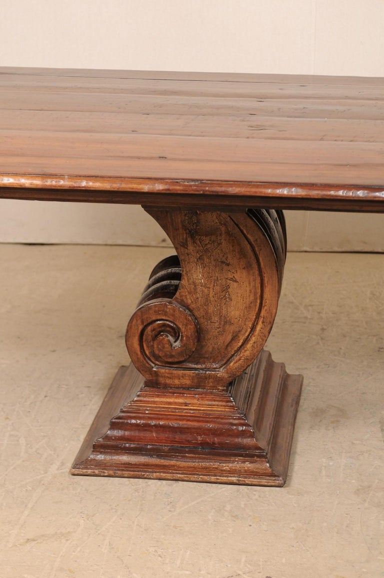 A Peroba Wood Dining or Conference Table w/ Fabulously Thick Carved Scroll Bases For Sale 2