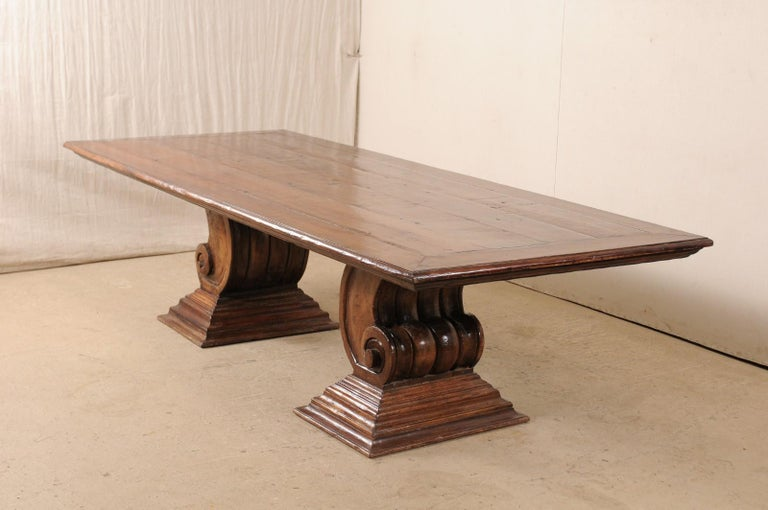 A Peroba Wood Dining or Conference Table w/ Fabulously Thick Carved Scroll Bases For Sale 3
