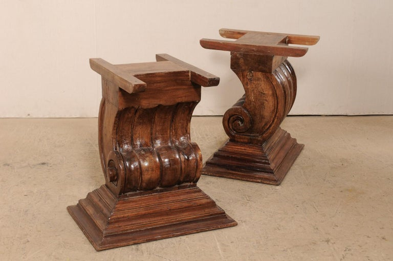 A Peroba Wood Dining or Conference Table w/ Fabulously Thick Carved Scroll Bases For Sale 4