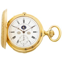 Perpetual Calendar Jump Date Pocket Watch by Marius LeCoultre