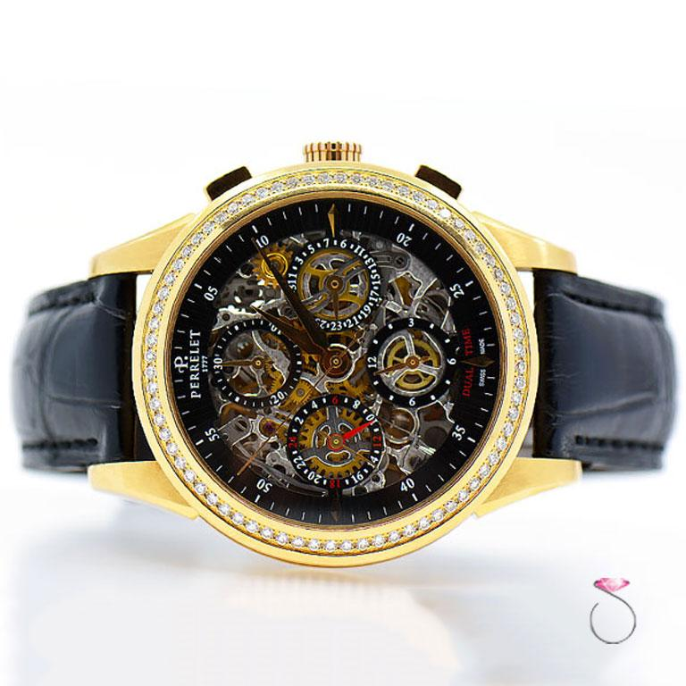 Perrelet Rose Gold Diamond Dual Time Chronograph Automatic