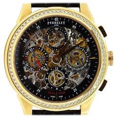 Perrelet Rose Gold Diamond Dual Time Chronograph Automatic Wristwatch