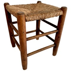 Perriand Style French Oak and Straw Stool