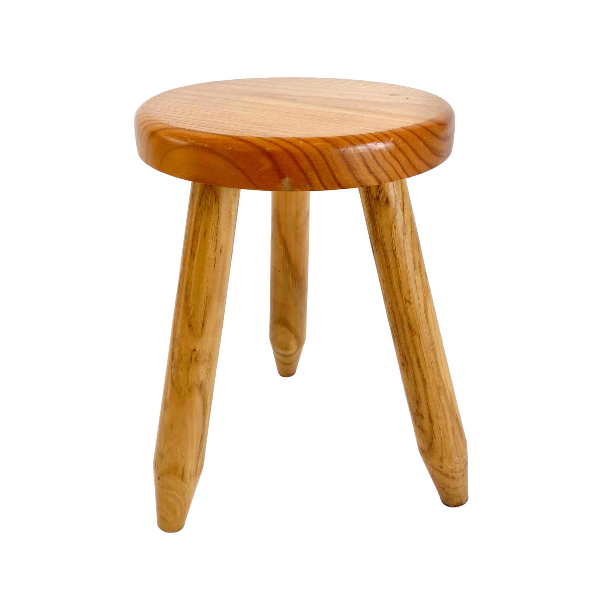 Perriand Style Pine Tripod Stool