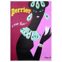 Perrier Pink Earrings Villemot Original Vintage Poster