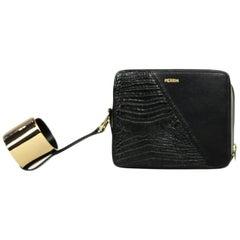 Perrin Black Crocodile/ Smooth Leather Box Cuff Clutch Bag rt. $2,200