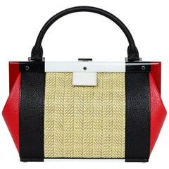 Perrin Black/Red/White Calfskin Leather/Raffia Le Bavolet Top Handle Frame Bag