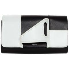 Perrin Black/White Calfskin Leather Right Hand Glove Clutch