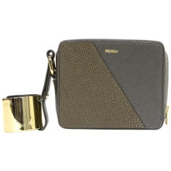 Perrin Grey Stingray/Chevre Leather Wristlet W/ Gold Cuff rt. $1,850