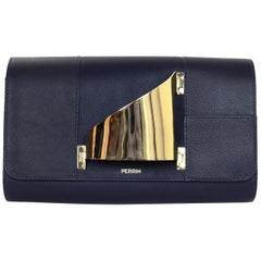 Perrin Navy Calfskin Leather/Goldtone L'Eiffel Right Hand Glove Clutch Bag
