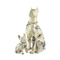 Perros Figurine Decor, Ceramic Pets Dogs Hand-Painted Modern Sculptures Decor