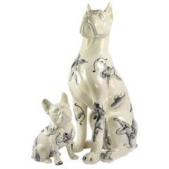 Perros Figurine Decor, Ceramic Vintage Dogs Hand-Painted Figurative Sculptures