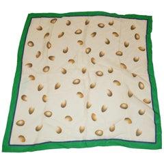Perry Ellis Cream and Emerald Green Silk Chiffon Scarf
