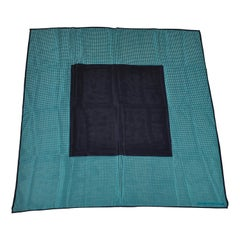 Perry Ellis Deep Navy Borders With Turquoise Polka Dots Silk Scarf