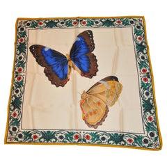 """Perry Ellis Detailed """"Butterflies In Love"""" Silk Scarf"""