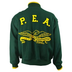 Perry Ellis Mens Vintage Green & Yellow Wool Made in USA Letterman Jacket, 1980s