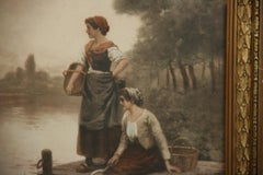 Antique Chromolithograph Two Women at Waters Edge 1905