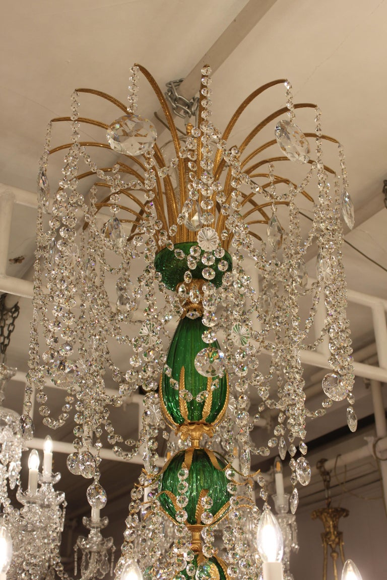 Perry & Parker Emerald Crystal Chandelier For Sale 4