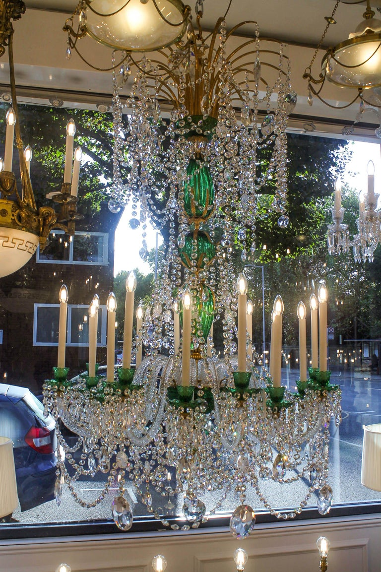Bronzed Perry & Parker Emerald Crystal Chandelier For Sale