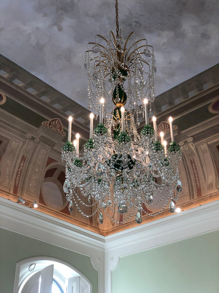Early 20th Century Perry & Parker Emerald Crystal Chandelier For Sale