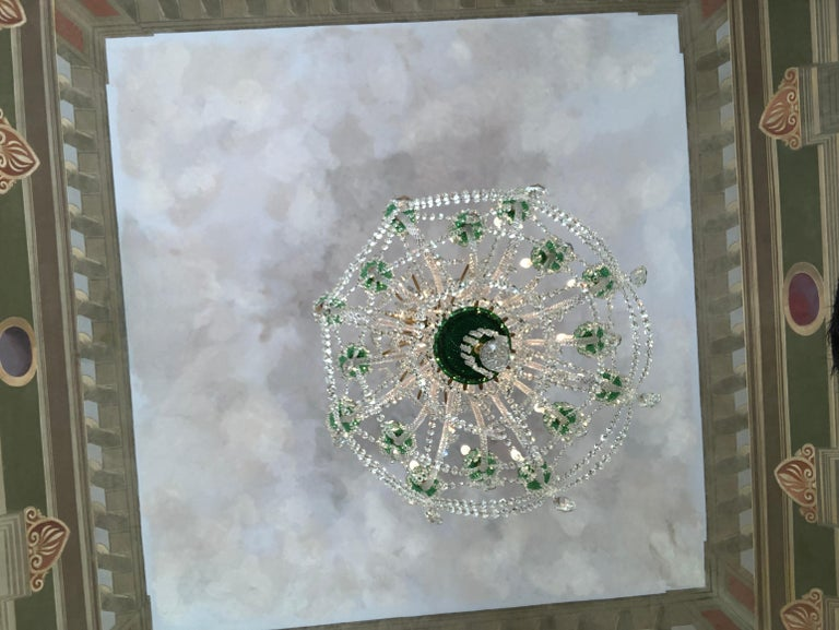 Perry & Parker Emerald Crystal Chandelier For Sale 1