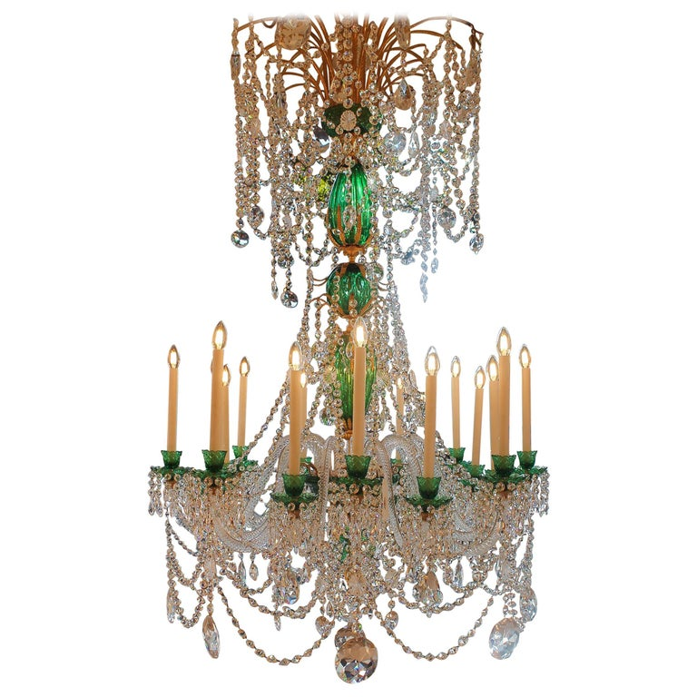 Perry & Parker Emerald Crystal Chandelier For Sale