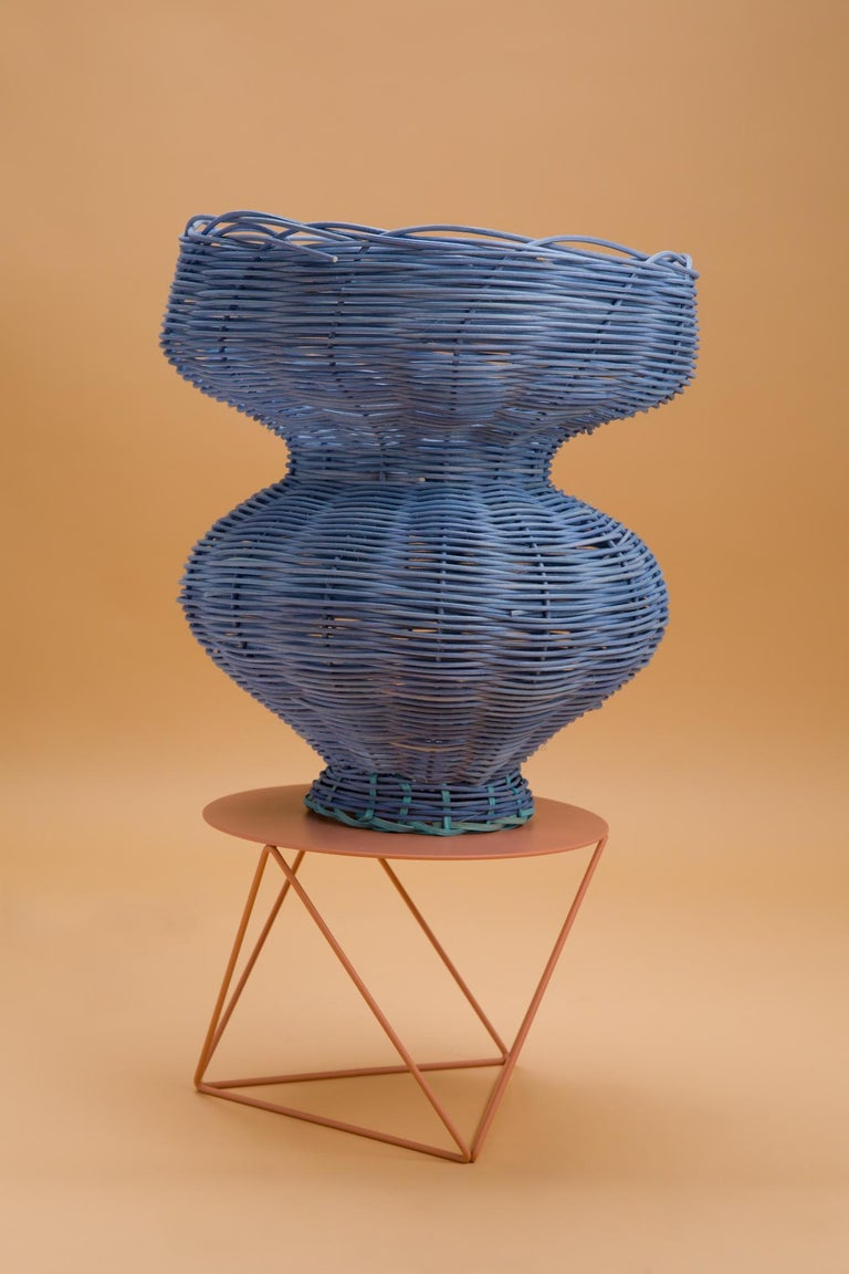 American Persephone Vase Woven in Denim by Studio Herron For Sale