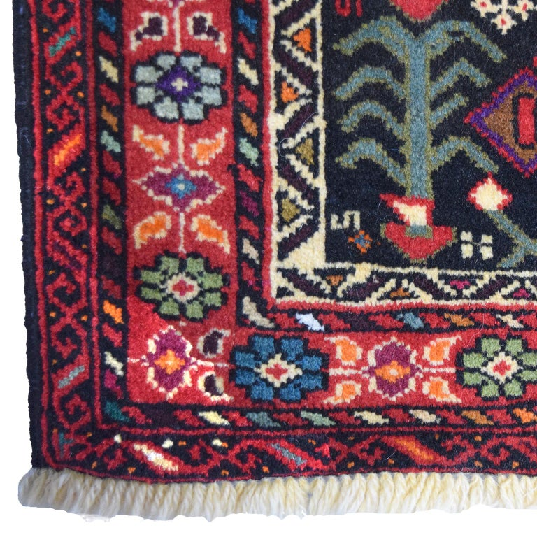Vegetable Dyed Persian Balouchi Carpet in Handspun Wool and Vegetable Dyes, circa 1950 For Sale