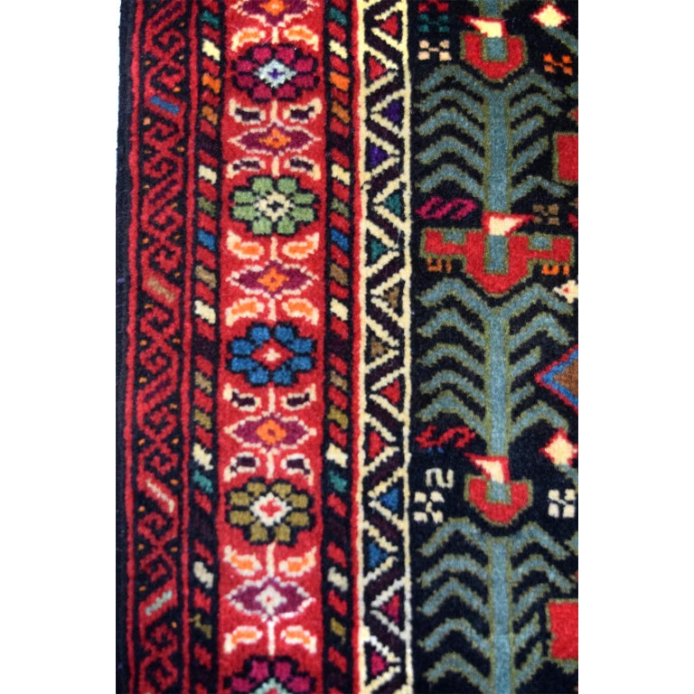 Persian Balouchi Carpet in Handspun Wool and Vegetable Dyes, circa 1950 In Good Condition For Sale In New York, NY