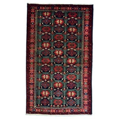 Persian Balouchi Carpet in Handspun Wool and Vegetable Dyes, circa 1950