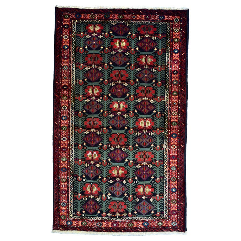 Persian Balouchi Carpet in Handspun Wool and Vegetable Dyes, circa 1950 For Sale