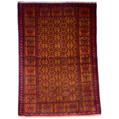 Persian Balouchi Carpet in Handspun Wool and Vegetable Dyes, circa 1930