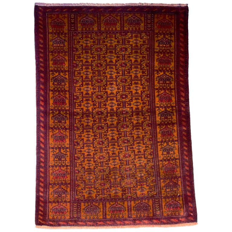 Persian Balouchi Carpet in Handspun Wool and Vegetable Dyes, circa 1930 For Sale