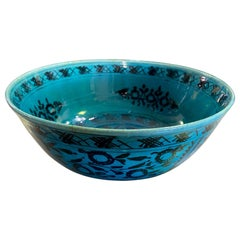 Persian Blue Glazed Large Pottery Ceramic Footed Bowl, 19th-20th Century