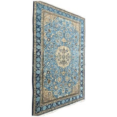 Persian Blue Room Size Rug with Central Medallion, circa 1930s