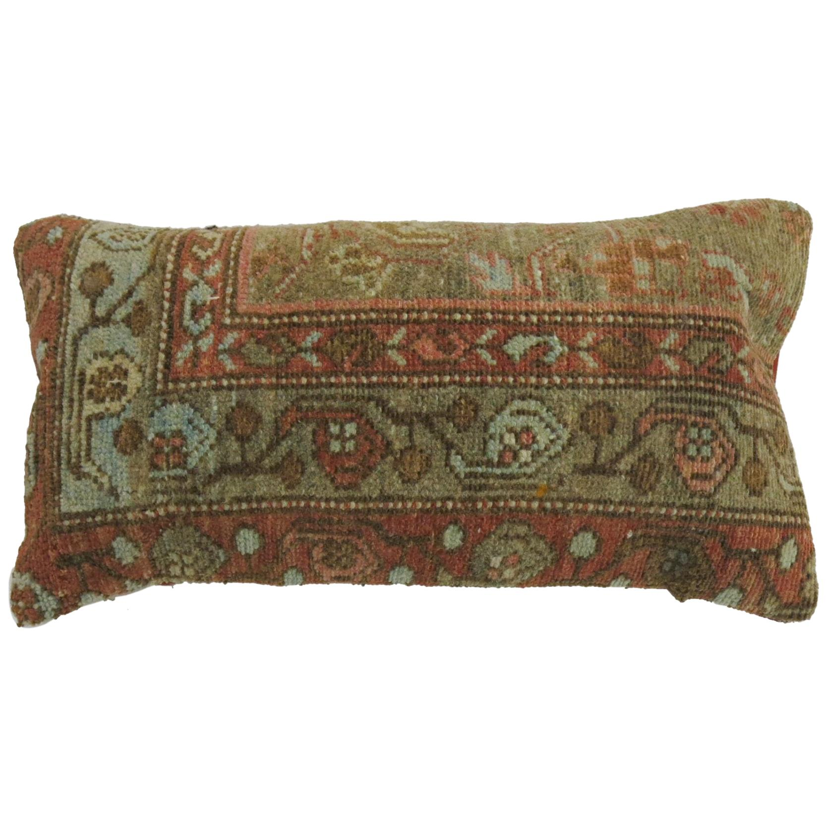 Persian Bolster Rug Pillow in Caramel Brown Terracotta Accents